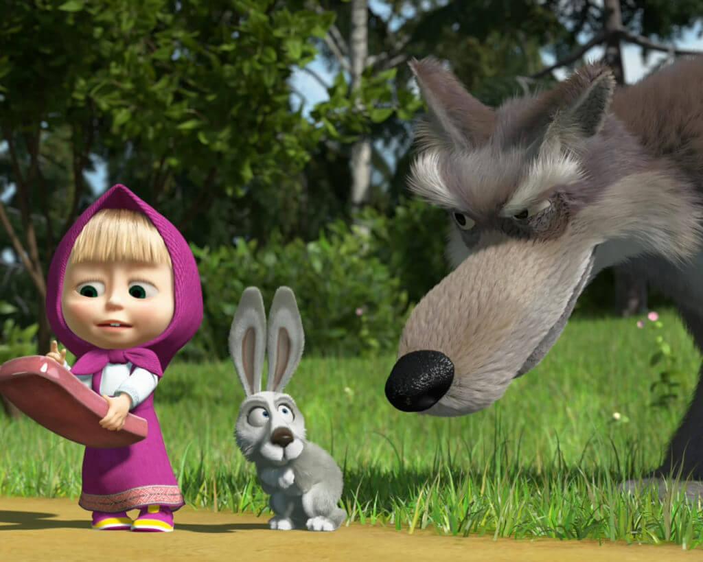 заяц, волк, Маша и медведь, телефон